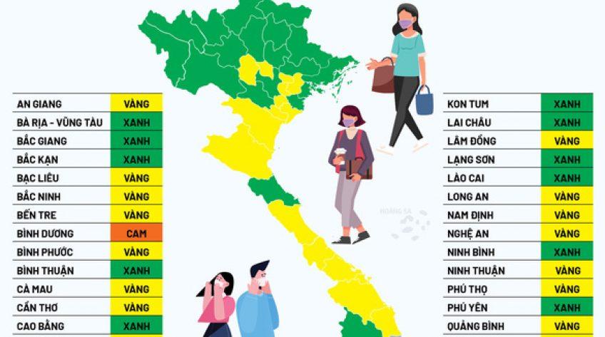 'Bản đồ màu' cấp độ dịch toàn quốc